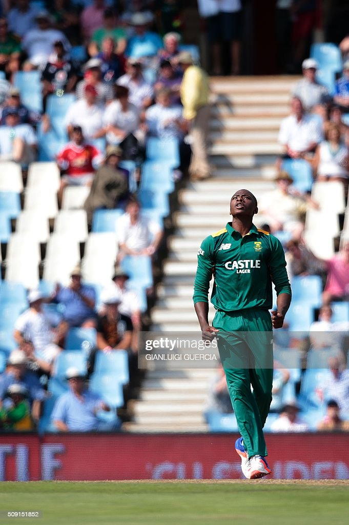 South African bowler Kagiso Rabada celebrates the dismissal of England's batsman Alex Hales (not in picture) during the third One Day International match between England and South Africa at Supersport park on February 9, 2016 in Centurion. / AFP / GIANLUIGI GUERCIA