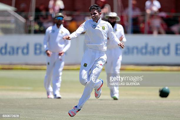 South African bowler Keshav Maharaj celebrates after taking the last wicket of of Sri Lanka's batsman Nuwan Pradeep during the fifth and last day of...
