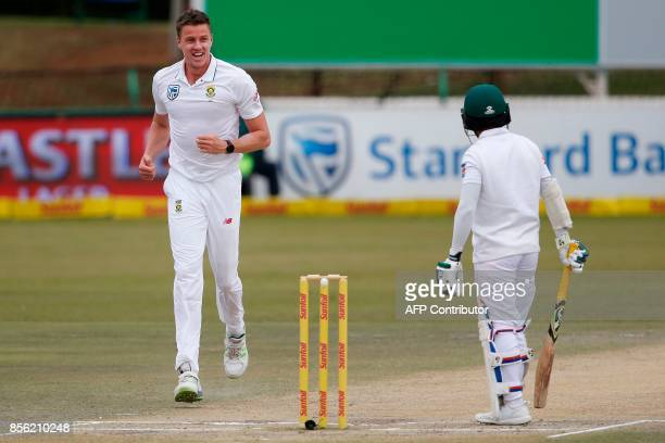 South African bowler Morne Morkel celebrates the dismissal of Bangladesh batsman Mominul Haque during the fourth day of the first Test Cricket Match...