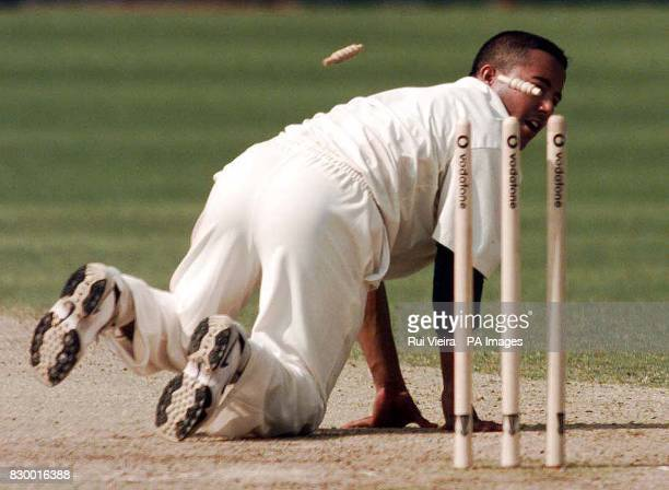 South African Bowler Paul Adams watches the ball strike the opposite wicket after he fail to catch off his own bowling at New Road Worcester today...
