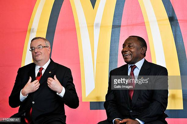 South African businessman Cyril Ramaphosa and Mcdonalds president David Murphy on March 17 2011 in Johannesburg South Africa where Ramaphosa...