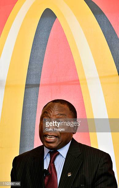 South African businessman Cyril Ramaphosa on March 17 2011 in Johannesburg South Africa where he announced he is paying for a 20year master franchise...