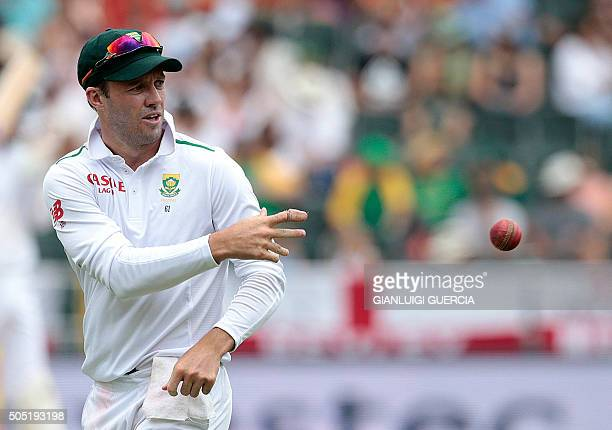 South African Captain AB de Villiers throws the ball during day 3 of the third Test match between England and South Africa at Wanderers stadium on...