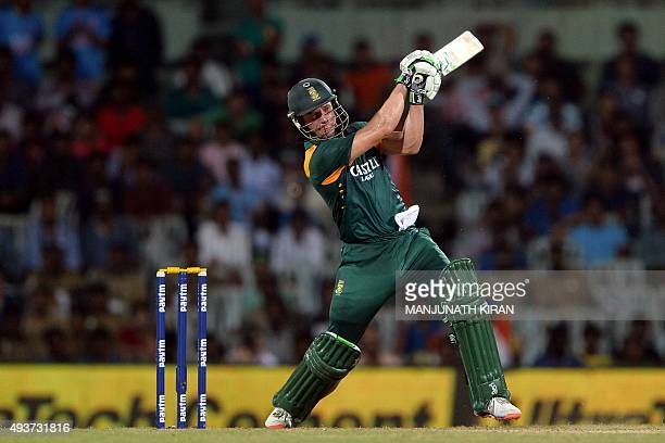 South African captain and batsman AB de Villiers plays a shot during the one day international cricket match between India and South Africa at The MA...