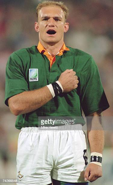 South African captain Francois Pienaar during a Rugby World Cup match against Canada in Port Elizabeth 1995 South Africa won 200