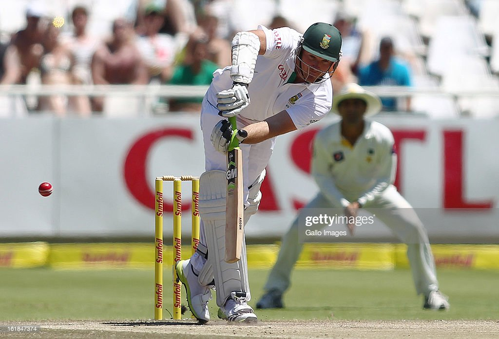 South African captain <a gi-track='captionPersonalityLinkClicked' href=/galleries/search?phrase=Graeme+Smith+-+Cricketspeler&family=editorial&specificpeople=193816 ng-click='$event.stopPropagation()'>Graeme Smith</a> plays a shot during day 4 of the 2nd Sunfoil Test match between South Africa and Pakistan at Sahara Park Newlands on February 17, 2013 in Cape Town, South Africa.