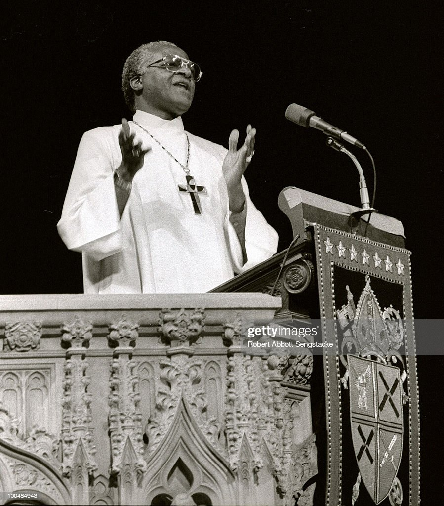 South African cleric Desmond Tutu, the Anglican Archbishop of Cape Town, speaks at the lectern of the Cathedral of St. John the Divine, in New York city, 1986.