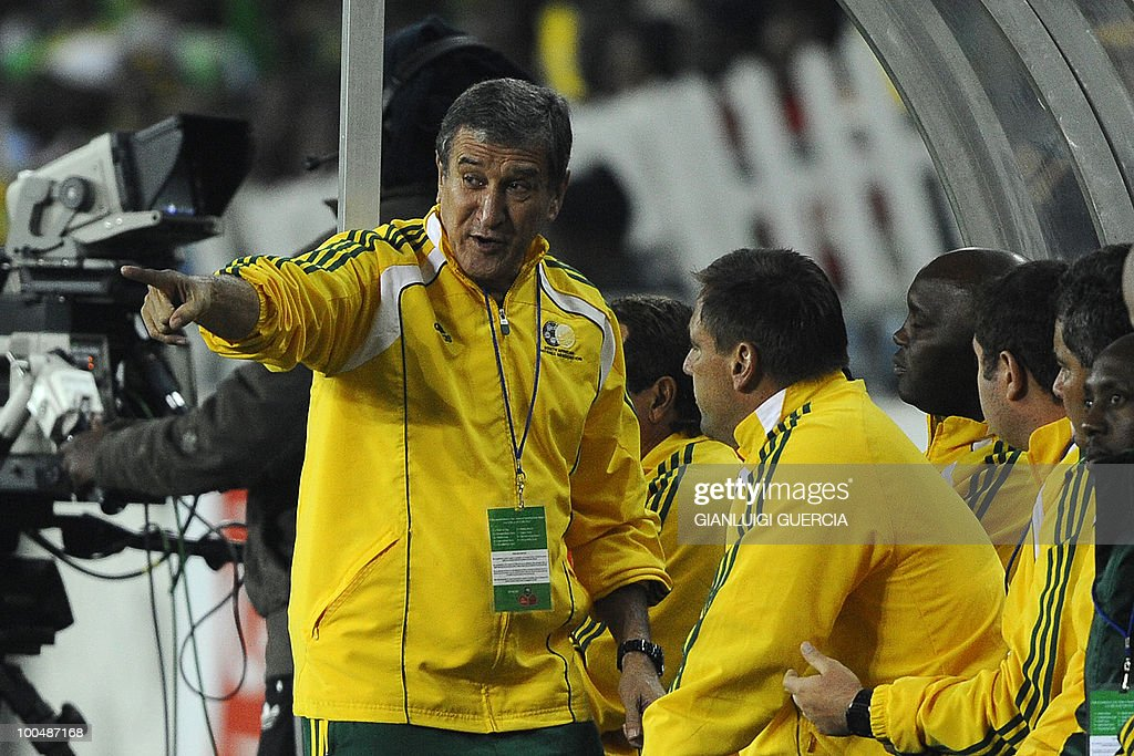 South African coach Carlos Alberto Parreira(L) reacts during their international friendly football match against Bulgaria at the Orlando stadium in Soweto, Johannesburg. on May 24, 2010. The 2010 FIFA World Cup football championship is due to take place in South Africa from June 11 to July 11 of 2010.
