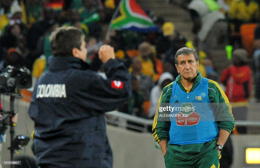 South African coach Carlos Parreira gives instructions to his players during a friendly football match between South Africa vs Colombia at Soccer City Stadium in Soweto on May 27 , 2010 ahaed of the FIFA 2010 World Cup in South Africa.