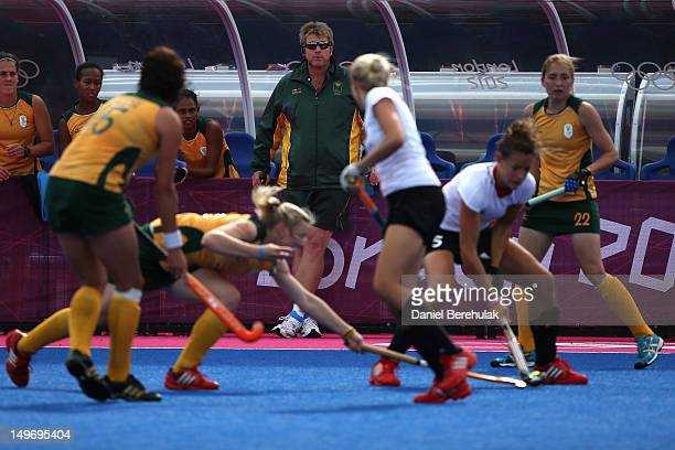 South African coach Giles Bonnet looks on in the Women's Hockey preliminary match between South Africa and Germany on Day 6 of the London 2012...