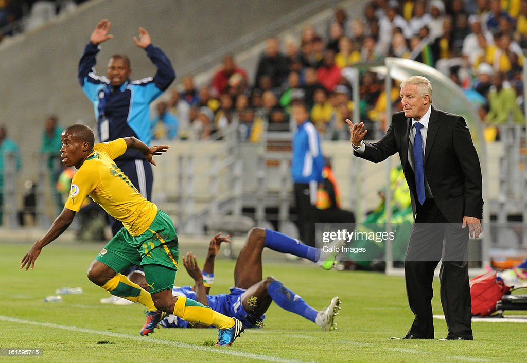 South African coach <a gi-track='captionPersonalityLinkClicked' href=/galleries/search?phrase=Gordon+Igesund&family=editorial&specificpeople=3647587 ng-click='$event.stopPropagation()'>Gordon Igesund</a> gestures to players during the FIFA 2014 World Cup Qualifier match between South Africa and Central African Republic at Cape Town Stadium on March 23, 2013 in Cape Town, South Africa.