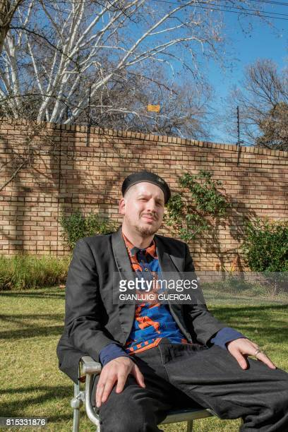 South African comedian linguist and university lecturer Nicholas Pule Welch poses during a photo session before an interview on June 14 2017 in...
