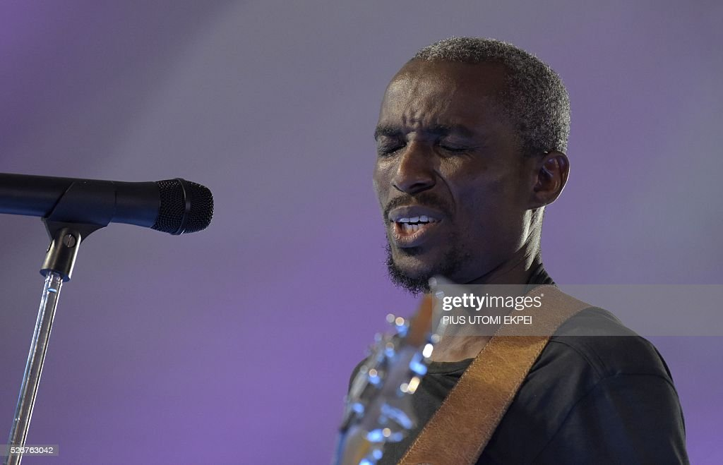 South African composer and arranger Bright Gain performs during International Jazz Day in Lagos on April 30, 2016. Jazz enthusiasts gathered at the government house in Lagos, Nigeria's commercial capital to mark the International Jazz Day, a global event designed to highlight jazz, its roots, future, impact and its diplomatic role of uniting people across the world. / AFP / PIUS
