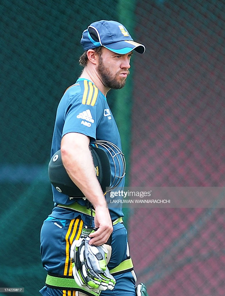 South African cricket captain AB de Villiers walks during a practice session at the R. Premadasa Stadium in Colombo on July 22, 2013.The second ODI between South Africa and Sri Lanka will be played on July 23, 2013. AFP PHOTO/ LAKRUWAN WANNIARACHCHI