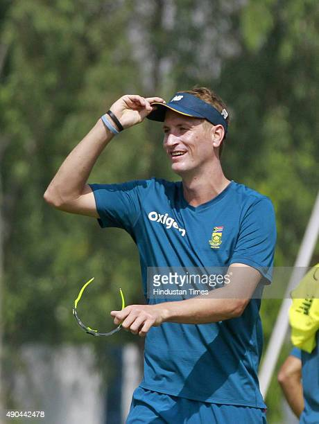 South African cricket player Chris Morris during training session for the practice cricket match between the Indian Board President's XI and South...