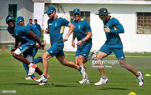 South African cricket players during training session for the practice cricket match between the Indian Board President's XI and South Africa at...