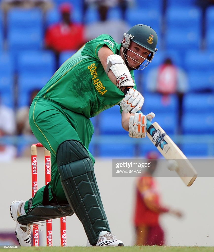 South African cricket team captain Graeme Smith hits the ball during the first T20 match between West Indies and South Africa at the Sir Vivian Richards Stadium in St John's on May 19, 2010. AFP PHOTO/Jewel Samad