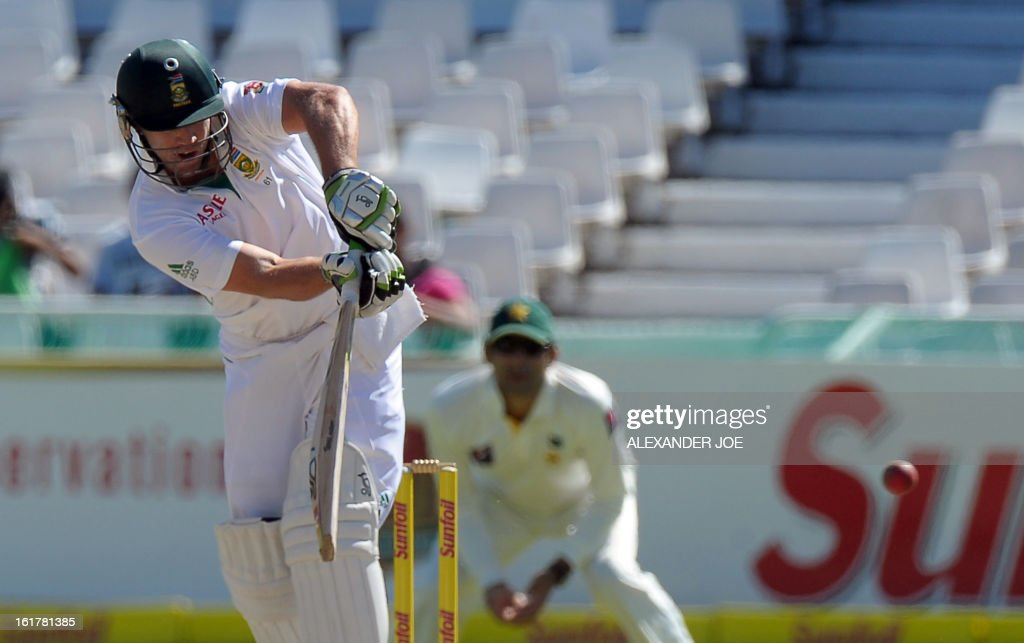 South African cricketer AB de Villiers plays a shot from unseen Pakistan cricketer Umar Gul on Day 3 of the 2nd Test between South Africa and Pakistan, at Newlands in Cape Town, on February 16, 2013.