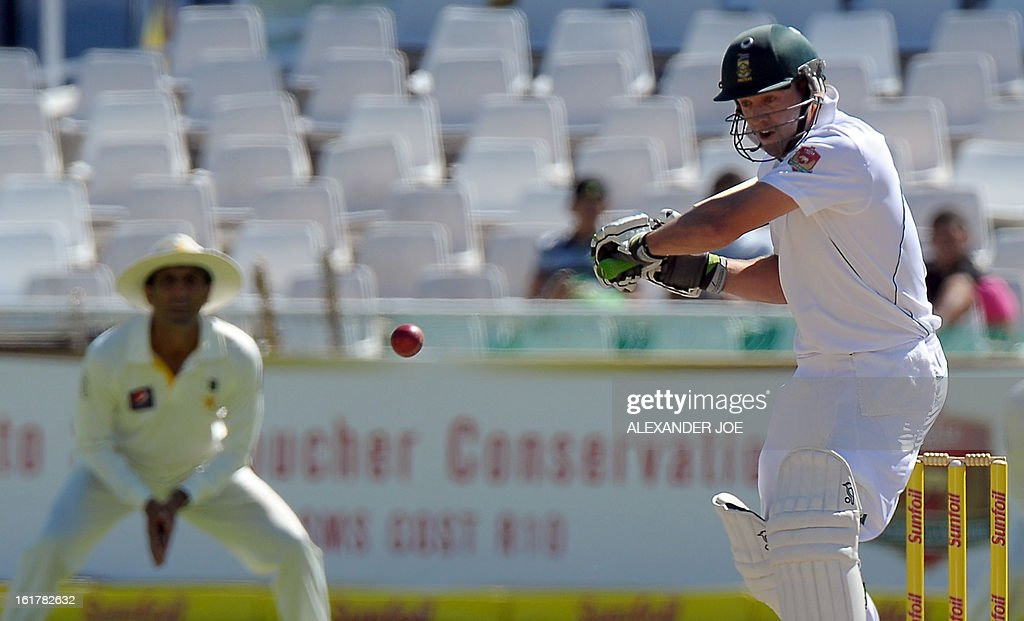 South African cricketer AB de Villiers plays a shot from unseen Pakistan cricketer Umar Gul on Day 3 of the 2nd Test between South Africa and Pakistan , at Newlands in Cape Town, on February 16, 2013.