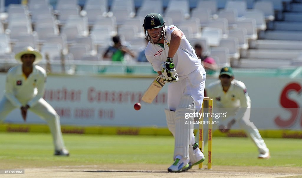 South African cricketer AB de Villiers plays a shot from unseen Pakistan cricketer Umar Gul on Day 3 of the Second Test between South Africa and Pakistan at Newlands in Cape Town on February 16, 2013.