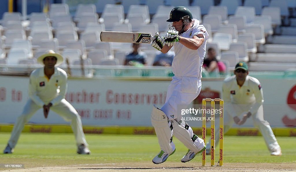 South African cricketer AB de Villiers plays a shot from unseen Pakistan cricketer Umar Gul on Day 3 of the Second Test between South Africa and Pakistan at Newlands in Cape Town, on February 16, 2013.