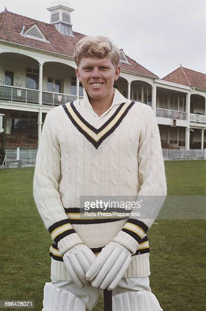 South African cricketer and player for Hampshire County Cricket Club Barry Richards posed in front of the main stand and club house at the County...