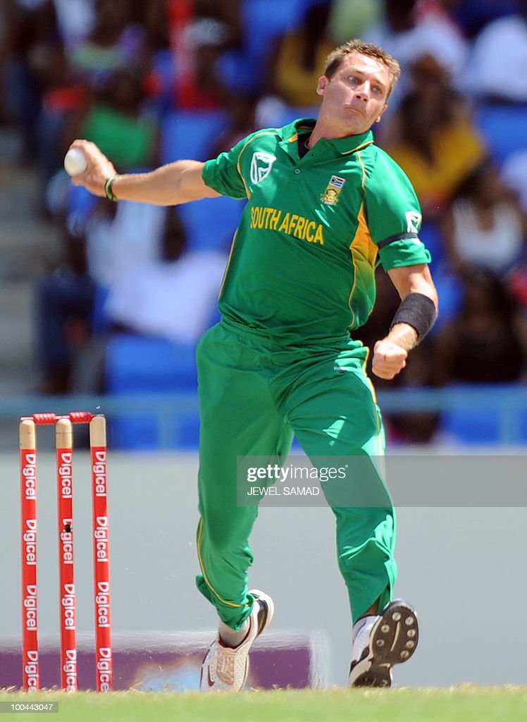 South African cricketer Dale Steyn delivers a ball during the second One Day International match between West Indies and South Africa at the Sir Vivian Richards Stadium in St John's on May 24, 2010. Batting first, South Africa scored 300-runs at the end of their innings. AFP PHOTO/Jewel Samad