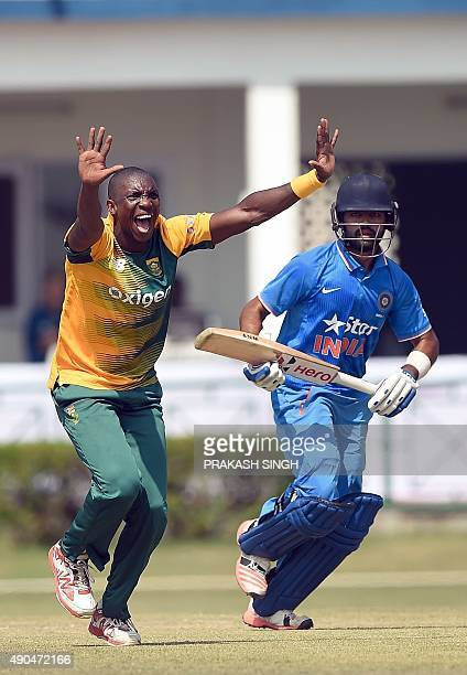 South African cricketer Eddie Leie makes an unsuccessful appeal for LBW for India A cricketer Manan Vohra during the T20 practice match between India...
