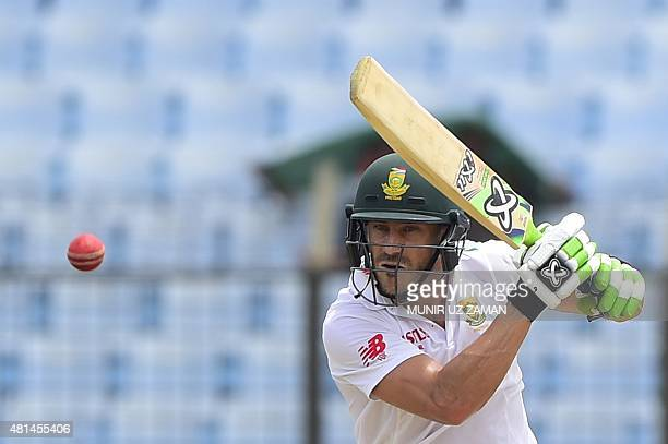 South African cricketer Faf du Plessis plays a shot during the first day of the first Test match between Bangladesh and South Africa at the Zohur...