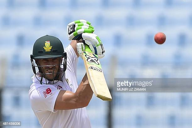 South African cricketer Faf du Plessis plays a shot during the first day of the first Test match between Bangladesh and South Africa at the Zahur...