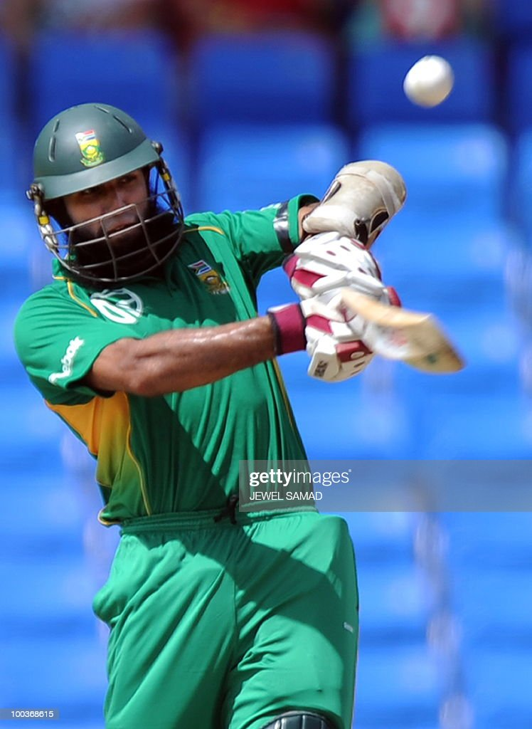 South African cricketer Hashim Amla plays a shot off West Indies bowler Ravi Rampaul during the second One Day International match between West Indies and South Africa at the Sir Vivian Richards Stadium in St John's on May 24, 2010. AFP PHOTO/Jewel Samad
