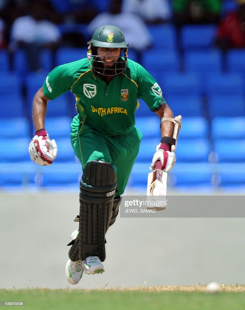 South African cricketer Hashim Amla takes a run during the second One Day International match between West Indies and South Africa at the Sir Vivian Richards Stadium in St John's on May 24, 2010. AFP PHOTO/Jewel Samad