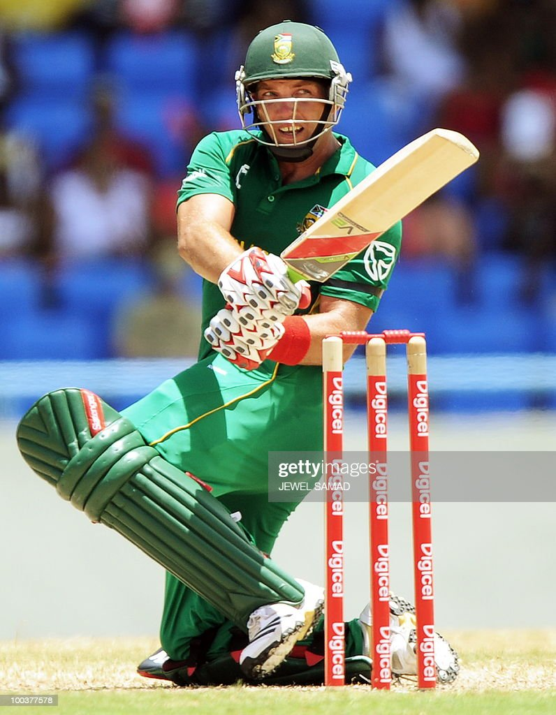 South African cricketer Jacques Kallis plays a shot during the second One Day International match between West Indies and South Africa at the Sir Vivian Richards Stadium in St John's on May 24, 2010. AFP PHOTO/Jewel Samad