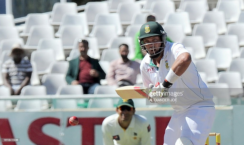 South African cricketer Jacques Kallis plays a shot from unseen Pakistan cricketer Umar Gul on day 4 of the 2nd Test match between South Africa and Pakistan in Cape Town at Newlands on February 17, 2013.