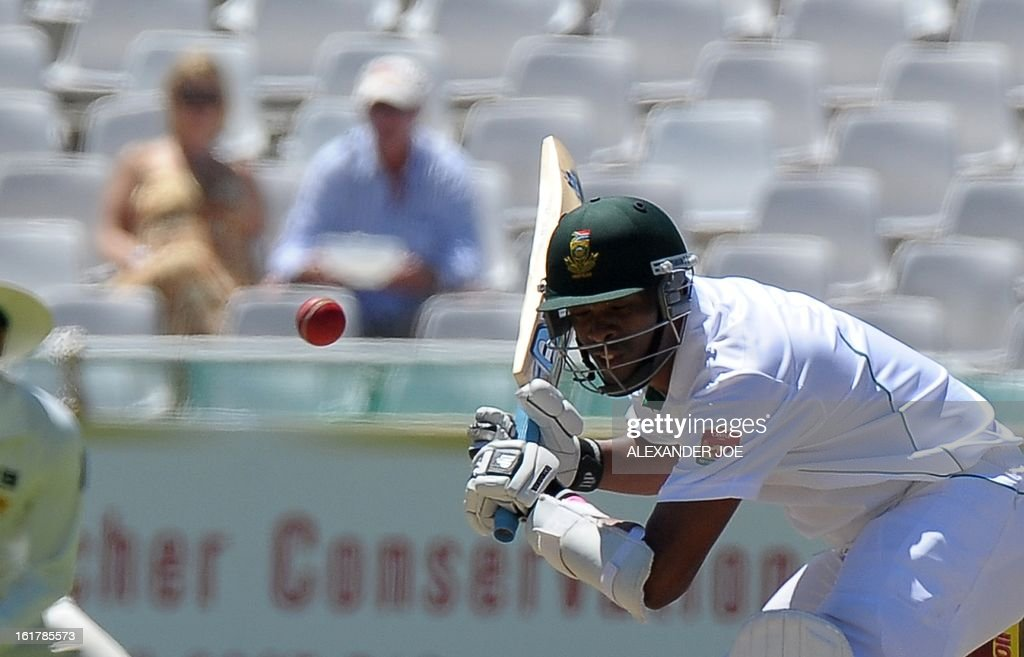 South African cricketer Vernon Philander keeps his eye on the ball during day 3 of the second test between South Africa and Pakistan at Newlands in Cape Town on February 16, 2013.