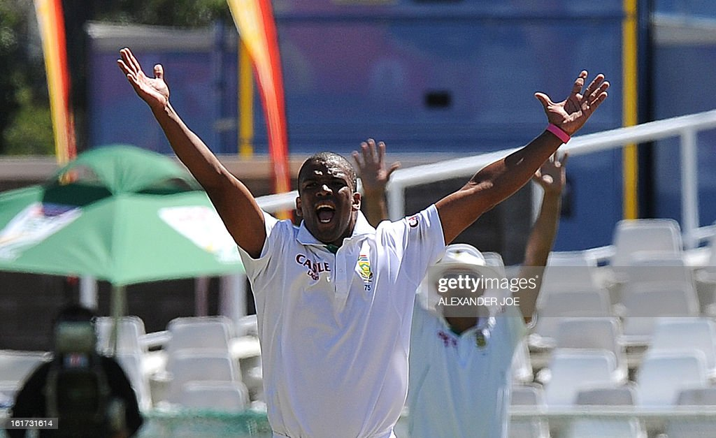 South African cricketer Vernon Philander successfuly appeals the wicket of unseen Pakistani cricketer Umar Gul for zero runs on day two of the 2nd Test between South Africa and Pakistan, in Cape Town at Newlands on February 15, 2013.