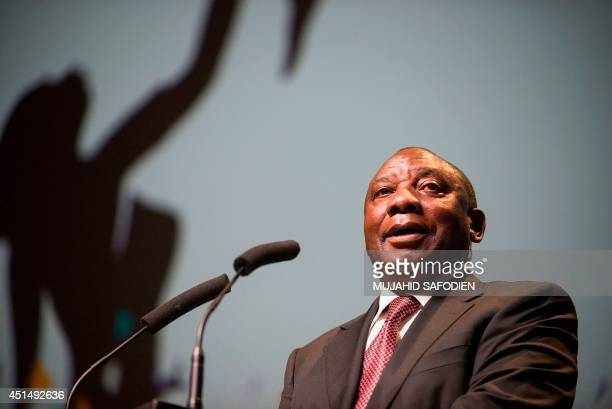 South African deputy president and deputy president of the African National Congress Cyril Ramaphosa speaks at a conference on improving maternal...