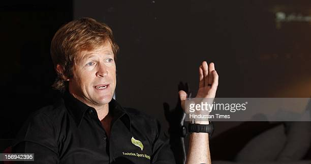 South African Excricketer Jonty Rhodes is interviewed on November 10 2012 in Mumbai India