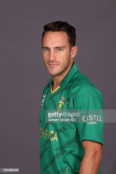 South African Faf du Plessis poses at a portrait session ahead of the ICC T20 World Cup on September 16 2012 in Colombo Sri Lanka