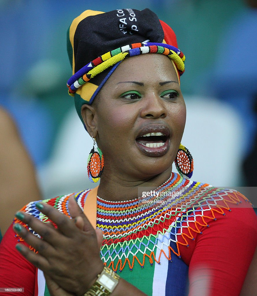 South African fan during the 2013 African Cup of Nations match between Morocco and South Africa at Moses Mahbida Stadium on January 27, 2013 in Durban, South Africa.