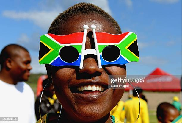 South African fan is pictured ahead of the International Friendly match between South Africa and Thailand from Mbombela Stadium on May 16 2010 in...