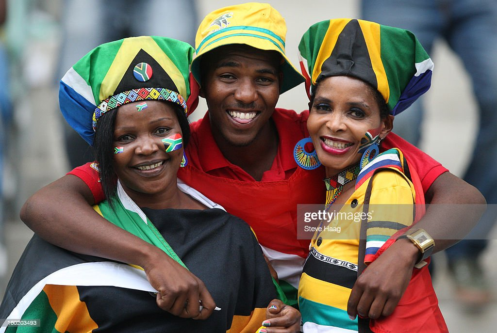 South African fans during the 2013 African Cup of Nations match between Morocco and South Africa at Moses Mahbida Stadium on January 27, 2013 in Durban, South Africa.