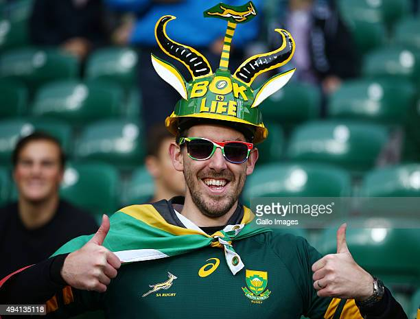 South African fans during the Rugby World Cup Semi Final match between South Africa and New Zealand at Twickenham Stadium on October 24 2015 in...