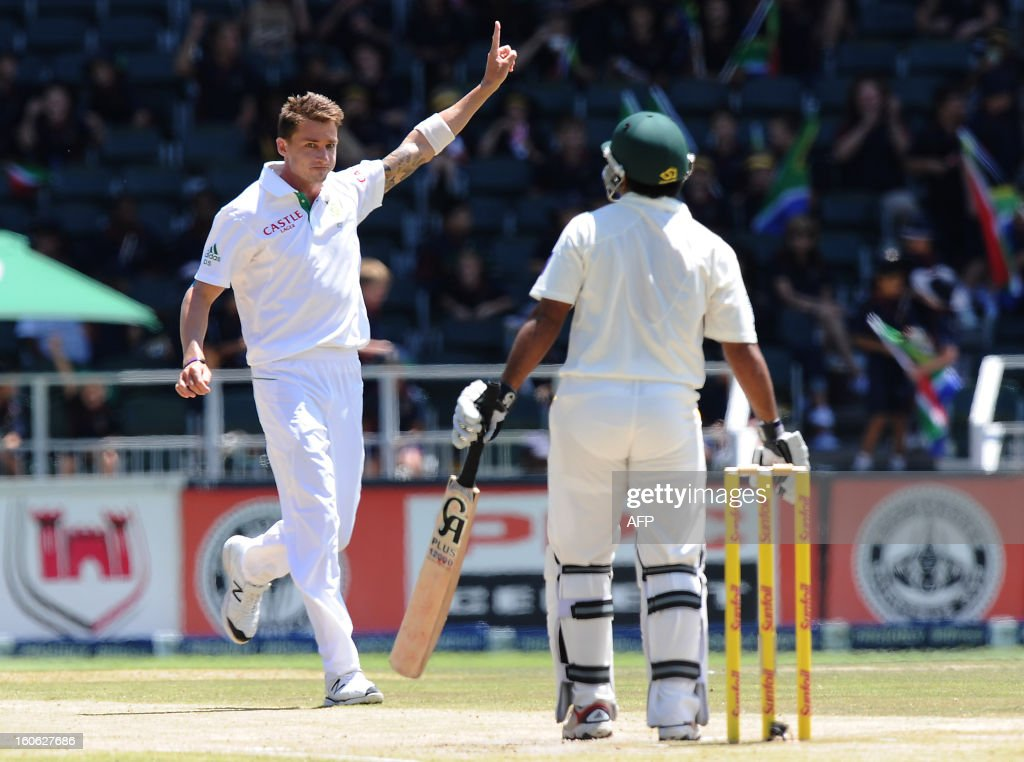 South African fast bowler Dale Steyn (L) celebrates the wicket of Shafiq Asad (R) on day four of the first test match between South Africa and Pakistan on February 4, 2013 at Wanderers Stadium in Johannesburg.