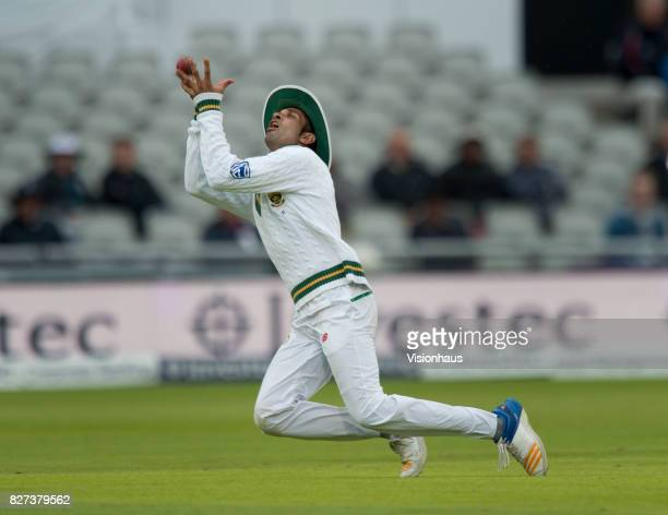 South African fielder Keshav Maharaj catches out Toby Roland Jones during the third day of the fourth test between England and South Africa at Old...