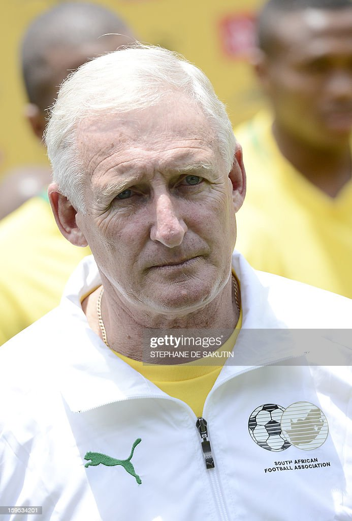 South African football team coach Gordon Igesund poses on January 15, 2013 at Orlando Stadium in Soweto. South Africa's President Jacob Zuma has visited today the National Football Team, dubbed the Bafana Bafana at their training camp in Soweto to assure them of the nation's support ahead of the 2013 African Cup of Nations that will take place in South Africa from January 19 to February 10.