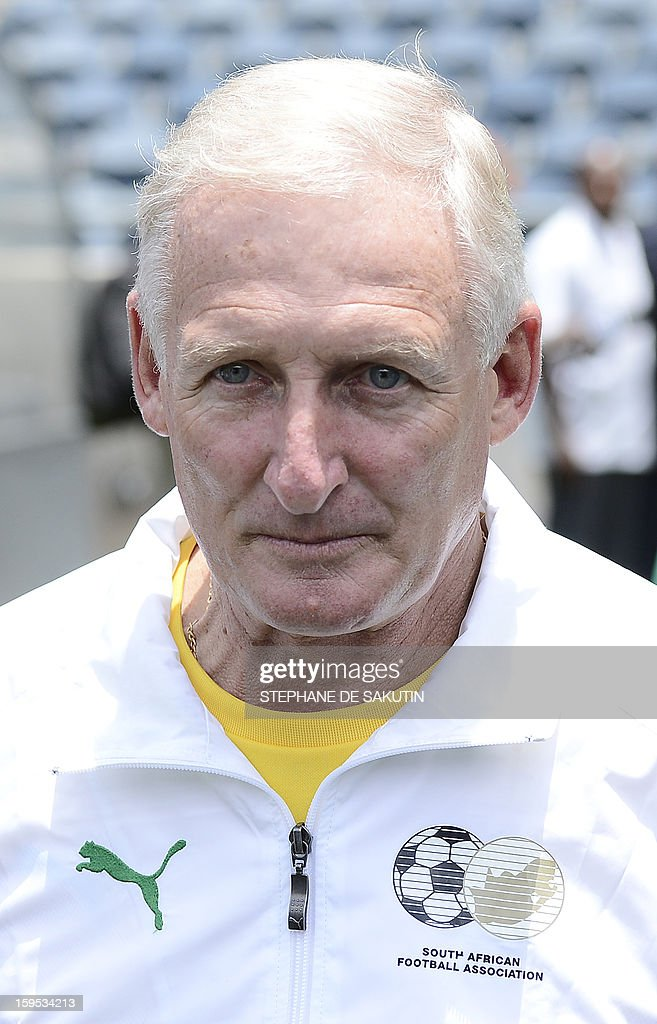 South African football team coach Gordon Igesund poses on January 15, 2013 at Orlando Stadium in Soweto. South Africa's President Jacob Zuma visited today the National Football Team, dubbed the Bafana Bafana at their training camp in Soweto to assure them of the nation's support ahead of the 2013 African Cup of Nations that will take place in South Africa from January 19 to February 10.