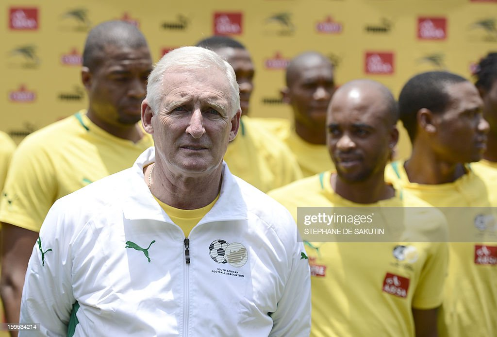 South African football team coach Gordon Igesund poses on January 15, 2013 at Orlando Stadium in Soweto. South Africa's President Jacob Zuma visited today the National Football Team, dubbed the Bafana Bafana at their training camp in Soweto to assure them of the nation's support ahead of the 2013 African Cup of Nations that will take place in South Africa from January 19 to February 10. AFP PHOTO / STEPHANE DE SAKUTIN