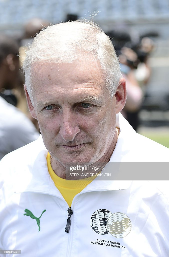 South African football team coach Gordon Igesund poses on January 15, 2013 at Orlando Stadium in Soweto. South Africa's President Jacob Zumavisited today the National Football Team, dubbed the Bafana Bafana at their training camp in Soweto to assure them of the nation's support ahead of the 2013 African Cup of Nations that will take place in South Africa from January 19 to February 10.