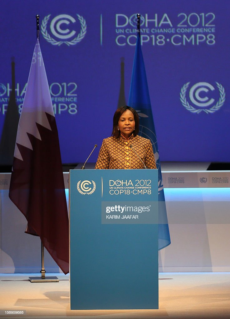 South African Foreign Minister and President of the 17th United Nations (UN) climate change conference, Maite Nkoana-Mashabane, talks during the opening ceremony of the 18th United Nations (UN) climate change conference in Doha on November 26, 2012. Nearly 200 world nations launched a new round of talks in Doha to review commitments to cutting climate-altering greenhouse gas emissions. AFP PHOTO / AL-WATAN DOHA / KARIM JAAFAR == QATAR OUT ==